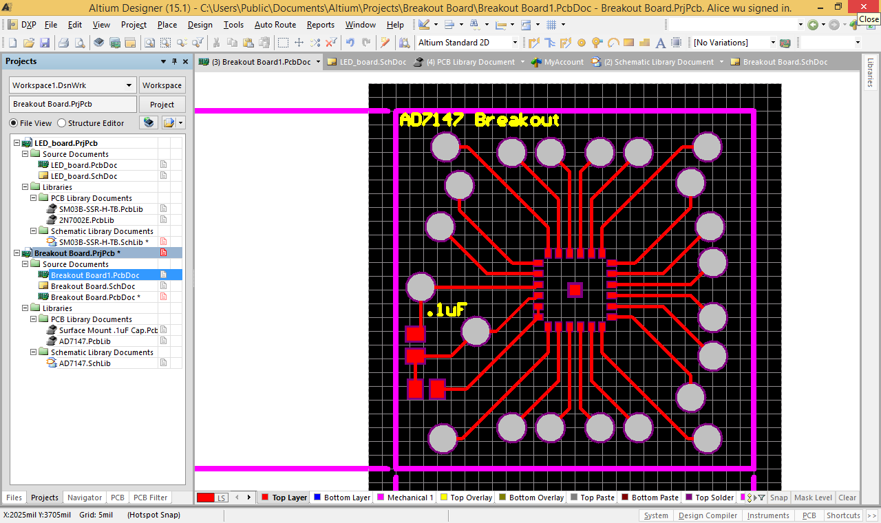 Isabelsummerblog Biomimetics And Dextrous Manipulation Lab Altium Schematic Wire Jump I Also Finished My First Iteration Of The Breakout Board Design For Captouch Sensor